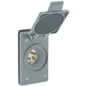 Leviton 5278-FWP 15A Integrated Power Flanged Inlet, 125V, 5-15P, Slots for Terminals