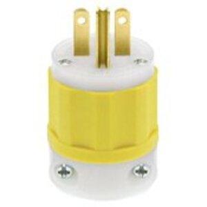 Leviton 5666-CY 15 Amp Plug, 250V, 6-15P, Nylon, Yellow, Industrial Grade