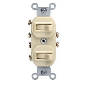 Leviton 5243-I Combination Switch, Toggle, (2) 3-Way, 15A, 120V, Ivory