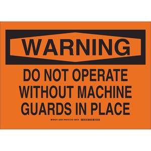 23909 B302 SAFETY SIGN 10X14 BLK/ORG
