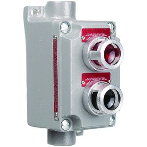 Hubbell-Killark XCS-5B30RL-GL XCS Series - Aluminum Feed-Thru Double 120V Pilot Light Control Station- Red Lens And Green Lens With Nameplates To Be Specified - Hub Size3/4Inch