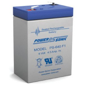 Power-Sonic PS-640F1 Sealed Lead Acid Battery, 6V, 4.5A *** Discontinued ***
