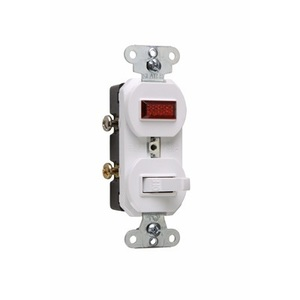 Pass & Seymour 692-WG Switch/Pilot Light Combo, 15A, White