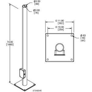 nVent Hoffman FLOORPOST Vert. Arm Floor-post, Lgt Grey