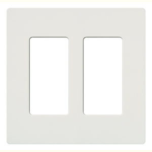 Lutron CW-2-WH Dimmer/Fan Control Wallplate, 2-Gang, White, Claro Series