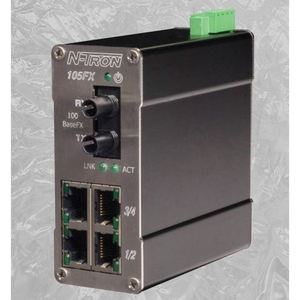 N-TRON 105FX-ST Ethernet Switch, 5 Port, Unmanaged, 10-30VDC, 10/100BaseTX