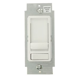 Leviton 6674-10W Dimmer, Sureslide, CFL/LED/Incandescent, 150/600W, White