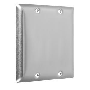 Hubbell-TayMac WSS-BB 2-Gang Metal Wallplate, Standard, 2-Blank, Stainless Steel