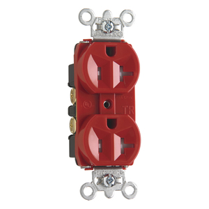 Pass & Seymour TR5362-RED RECEP DUP TR B+S WIRE 20A/125V RED