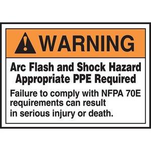"""Panduit PLVS0305W7163 3.50"""" x 5.00"""" Warning ARC FLASH.....SHOC"""