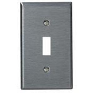 Leviton 84001-40 Toggle Switch Wallplate, 1-Gang, 302 Stainless Steel