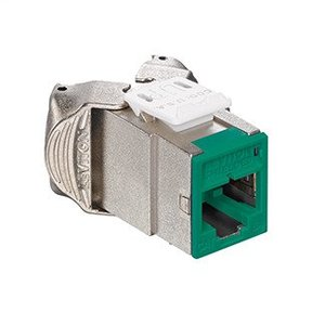 Leviton 6ASJK-RV6 Atlas-X1 Cat 6A Shielded QuickPort Connector, Component-Rated, Green
