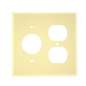 Leviton 86046 Comb. Wallplate, 2-Gang, Single Receptacle/Duplex, Metal, Ivory
