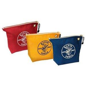 Klein 5539CPAK Zipper Bags, Assorted Canvas Tool Pouches, 3-Pack