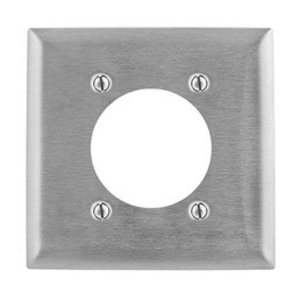 "Hubbell-Bryant SS701 Power Outlet Wallplate, 2-Gang, (1) 2.44"" Hole, Stainless Steel"