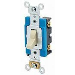 Leviton 1201-LHI Single-Pole Lighted Handle Switch, 15A, 120V, Ivory, LIT WHEN OFF