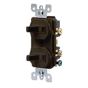 Leviton 5224-2 Combination Switch, Brown