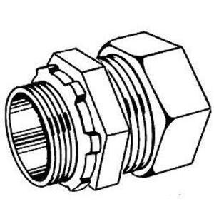 """Hubbell-Raco 1808 Rigid Compression Connector, 2"""", Malleable, Concrete Tight"""