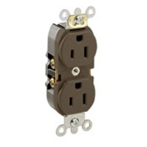 Leviton 5262-S Duplex Receptacle, 15A, 125V, Slim, Brown