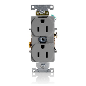 Leviton 5252-GY Duplex Receptacle, 15A, 125V, Narrow Body, Gray