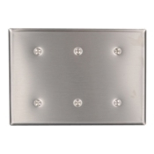 Leviton 84035-40 Blank Wallplate, 3-Gang, 302 Stainless Steel, Standard, Strap Mnt