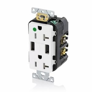T5832-HGW WHT COMB DPLX RECPT/USB HG