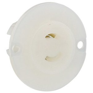 Leviton ML1-PER Flanged Outlet, 15A, 125V, 2P2W