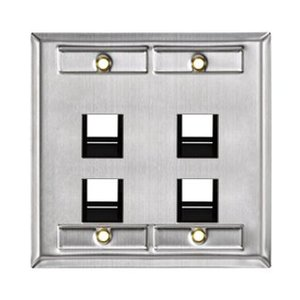 Leviton 43081-2L4 Angled 2G Stainless Steel Quickport Wallplate
