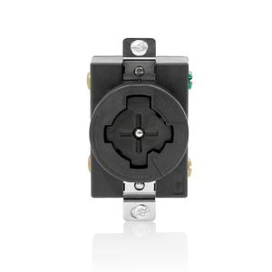 Leviton 20403-L Single Flush Receptacle, 30A/600VAC, 3-P/4-W, Black