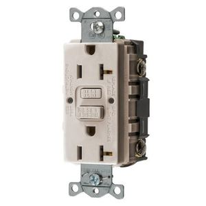 Hubbell-Wiring Kellems GFRST20LA GFCI Receptacle, Self-Test, 20A, Light Almond