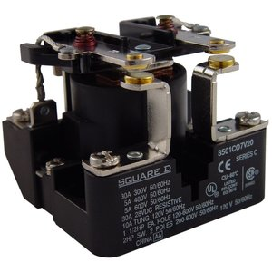 Square D 8501CO7V20 Power Relay, 120VAC Coil, 30A, 1PH, 2PST, Open Type C, 600VAC Rated