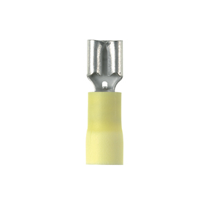 "Panduit EDV10-250-Q Female Disconnect, Vinyl Insulated, 12 - 10 AWG, .25"" x .032"" Tab, Yellow"