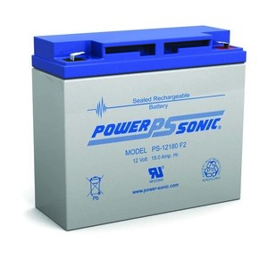 Power-Sonic PS12180F2 Rechargeable Sealed Lead Acid Battery, 12V, 18Ah