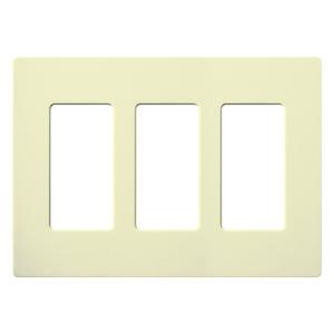 Lutron CW-3-AL Dimmer/Fan Control Wallplate, 3-Gang, Almond, Claro Series