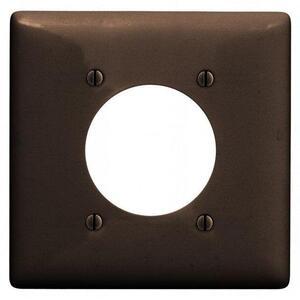 "Hubbell-Wiring Kellems NPJ703 Single Receptacle Wallplate, 2-Gang, 2.16"" Hole, Nylon, Brown, Mid-Size"