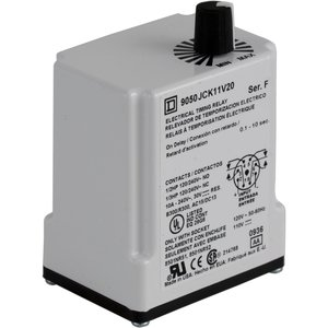 Square D 9050JCK11V36 Relay, Timer, 10A, 240VAC, 12VDC Coil, 8 Pin, 2PDT, On-Delay