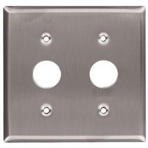 Leviton 84072-40 Keylock Switch Wallplate, 2-Gang, Stainless Steel