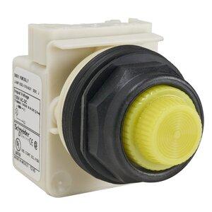 Square D 9001SKP38LYY31 Pilot Light, 30mm,LED, Yellow Fresnel Lens, 120V AC/DC, Full Voltage