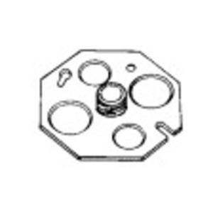 """Appleton OCP-3/8 4"""" Octagon Back Plate, 3/8"""" Fixture Stud, 1/2 and 3/4"""" KOs, Steel"""