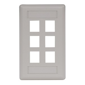 Hubbell-Premise IFP16OW Wallplate, 6-Port, 1-Gang, Keystone, Rear Load, Flush, Office White