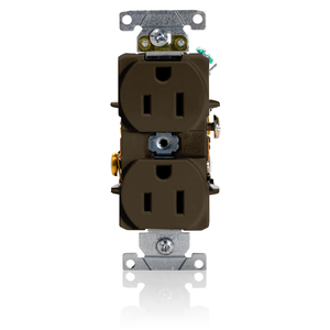 Leviton 5252 Duplex Receptacle, 15A, 125V, NEMA 5-15R, Brown, Narrow
