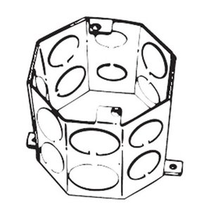 "Steel City 54571-1/2-3/4 4"" Octagon Concrete Box, 4"" Deep, Drawn, 1/2 - 3/4"" KOs, Steel"