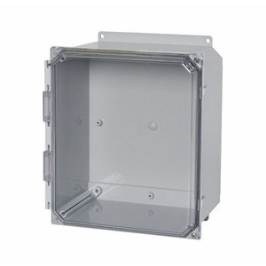 "Allied Moulded AMP1084CCH Enclosure, NEMA 4X, Hinged Window Cover, 10"" x 8"" x 4"", Polycarbonate"