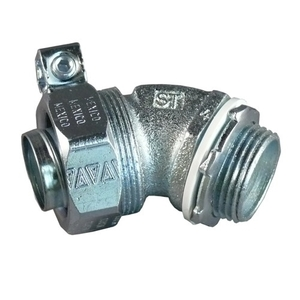 "Appleton ST-4550L Liquidtight Connector, 45°, 1/2"", Non-Insulated, Malleable Iron"