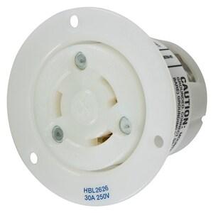 Hubbell-Kellems HBL2626 2P3W, 30A 250V, L6-30R, White Nylon