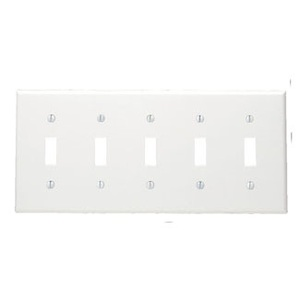 Leviton 80723-W Toggle Switch Wallplate, 5-Gang, Nylon, White