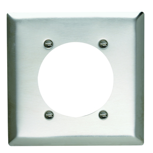 """Pass & Seymour SS701 Single Receptacle Wallplate, 2-Gang, 2.48"""" Opening, Stainless Steel"""