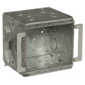 "Hubbell-Raco 696B Masonry Box, Type: Block-Loc™, 2-Gang, Welded, 3-1/2"" Depth, Steel"