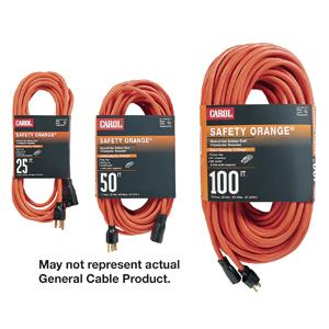 General Cable 06801.63.04 Indoor/Outdoor Extension Cord, Orange, 12/3 SJTW, 100' Long