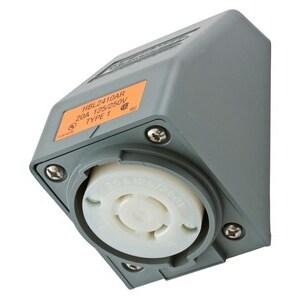 Hubbell-Kellems HBL2410AR Locking Receptacle, 20A, 125/250V, 3P4W